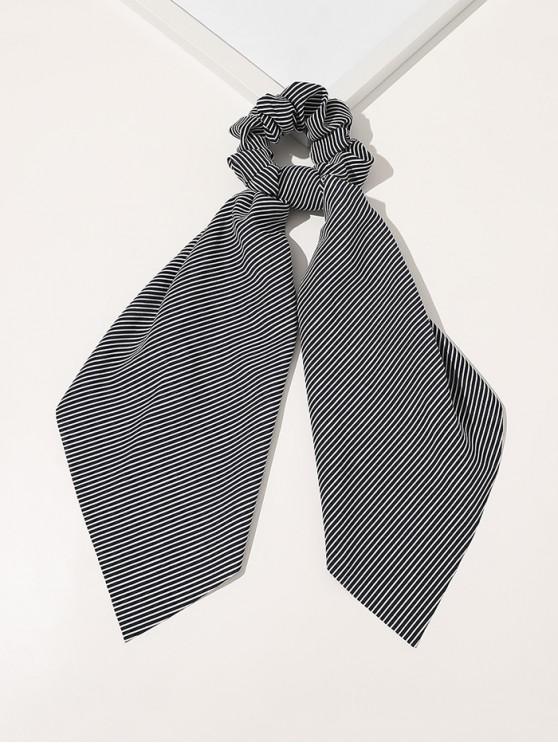 Ribbon Striped Print Fabric Scrunchy - ازرق غامق