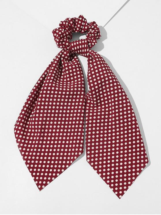 women's Ribbon Dots Print Fabric Scrunchy - RED