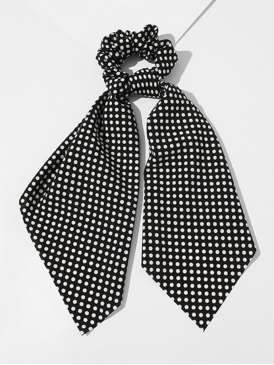 ladies Ribbon Dots Print Fabric Scrunchy - BLACK