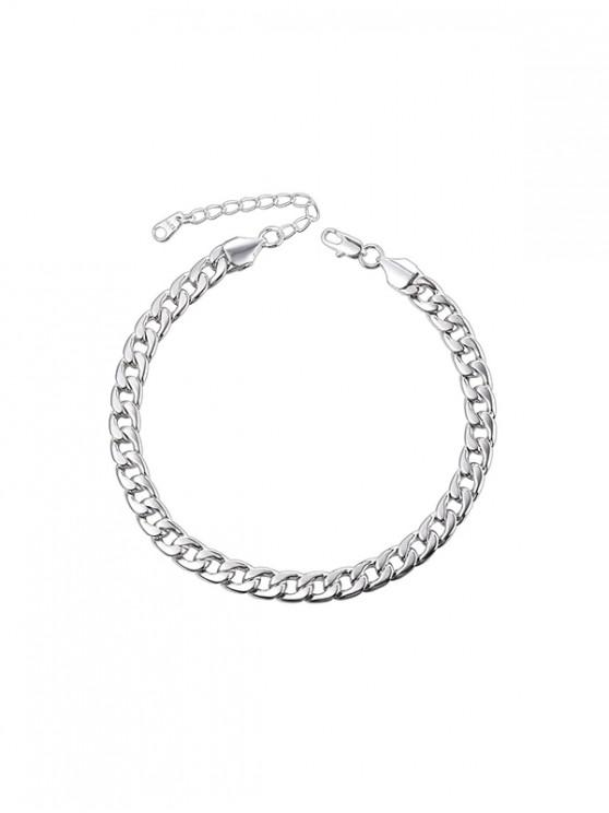 buy 316L Stainless Steel Plated Curb Link Chain Anklet - SILVER