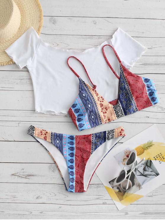 best ZAFUL Lettuce Trim Bohemian Random Printed Three Piece Bikini Swimsuit - COFFEE M