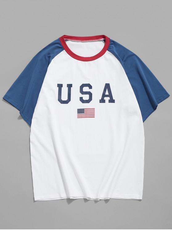 best American Flag Letter Printed T-shirt - WHITE S
