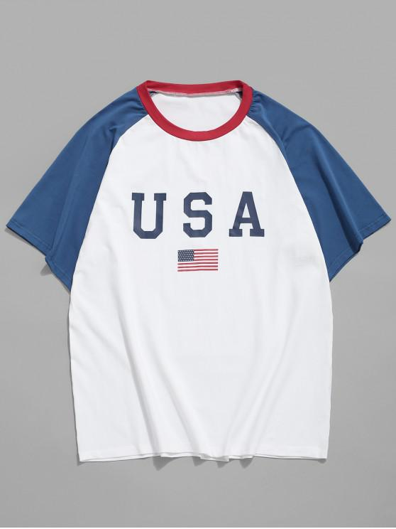 outfit American Flag Letter Printed T-shirt - WHITE 2XL