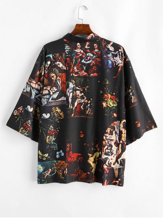 buy Open Front Renaissance Print Kimono Cardigan - BLACK 2XL