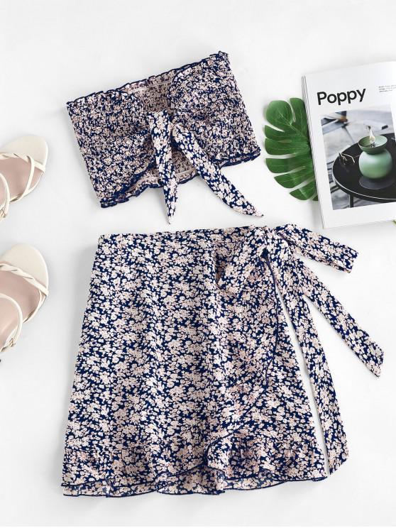 fancy ZAFUL Tie Ditsy Print Ruffle Smocked Two Piece Dress - LAPIS BLUE S