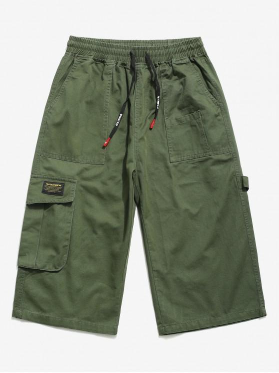 Buchstabe Muster Hose mit Multi Tasche - Armeegrün XS