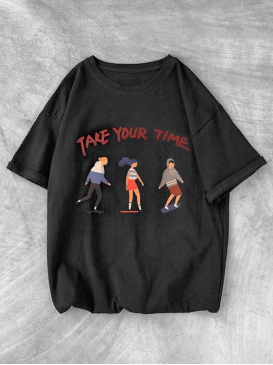 Basic Take Your Time Graphic Print Tee - أسود XS