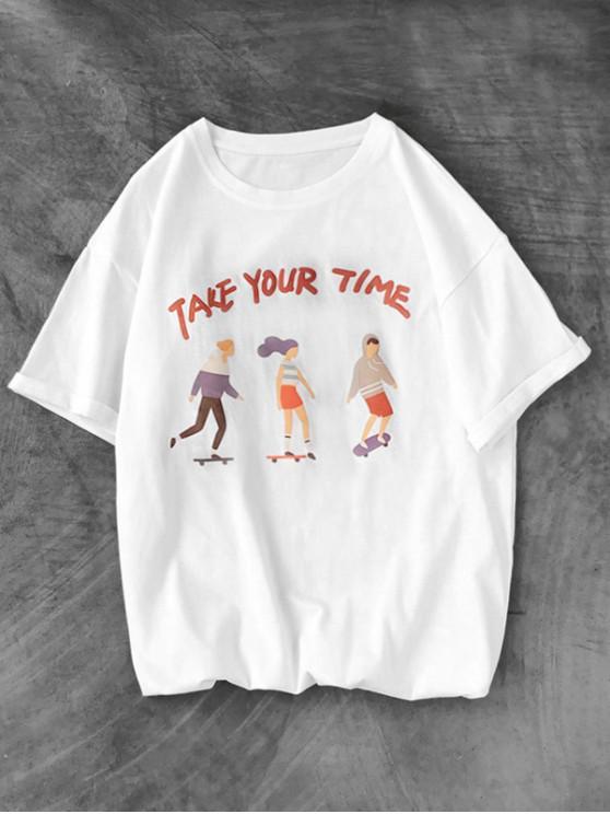 Camiseta Básica con Estampado Gráfico con Mangas Cortas - Blanco XS