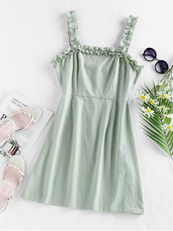 lady ZAFUL Ruffles Solid Mini Dress - CYAN OPAQUE M