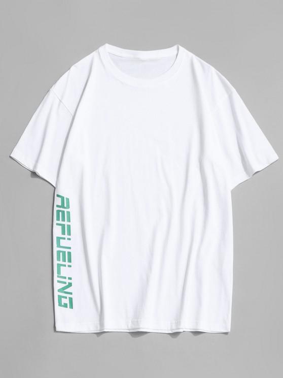 Letter Cartoon Duck Print Round Neck T-shirt - أبيض 3XL