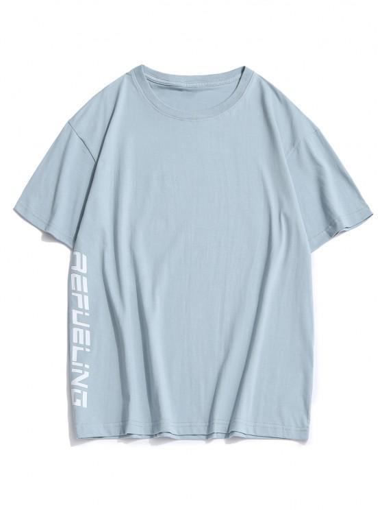 best Letter Cartoon Duck Print Round Neck T-shirt - LIGHT BLUE 3XL