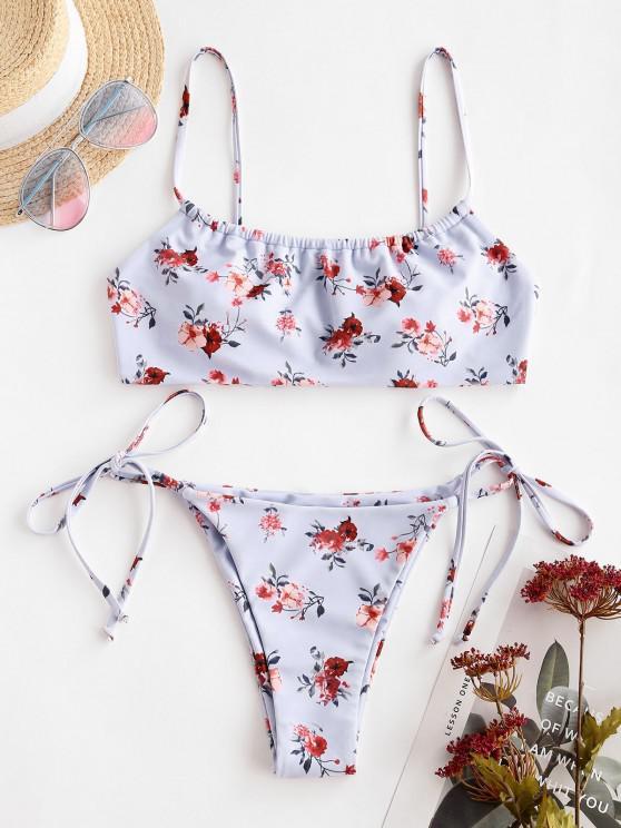 women ZAFUL Floral Tie Side Bikini Swimwear - LIGHT PURPLE S