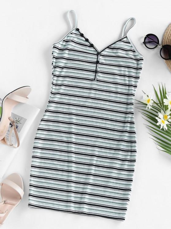 fashion ZAFUL Striped Mini Bodycon Dress - PALE BLUE LILY M