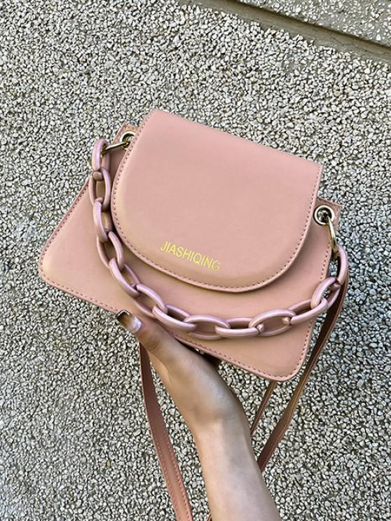 womens Letter Print Chain Embellished Small Crossbody Bag - LIGHT PINK