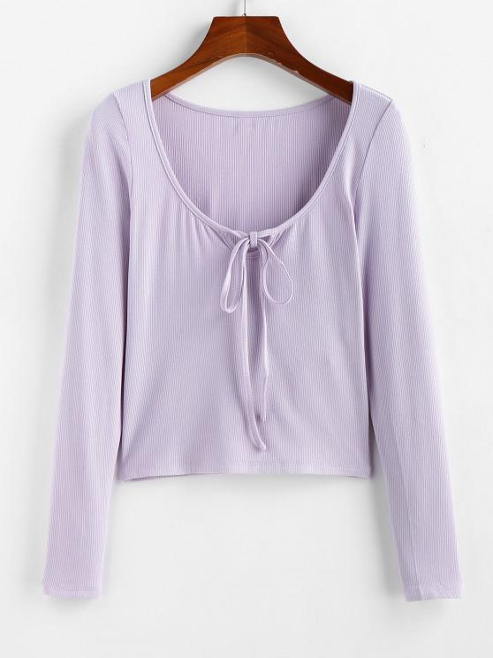 outfits ZAFUL Ribbed Tied Tee - LAVENDER BLUE M