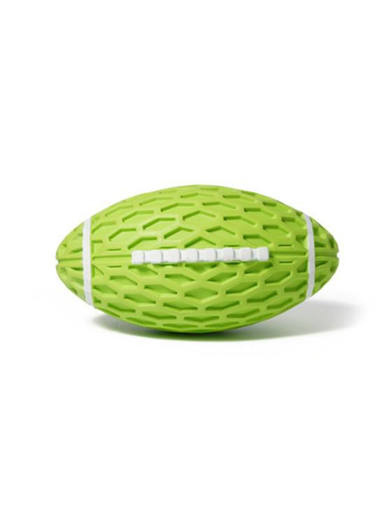 Football Shape Rubber Squeaky Dog Chew Toy - تفاحة خضراء 14.5 8.2CM *