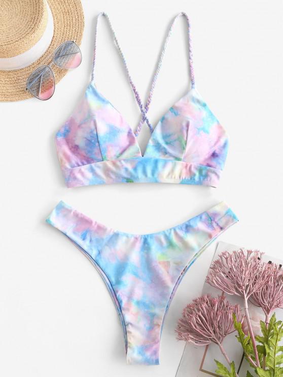 shops ZAFUL Tie Dye Lace Up Bikini Set - LIGHT BLUE S