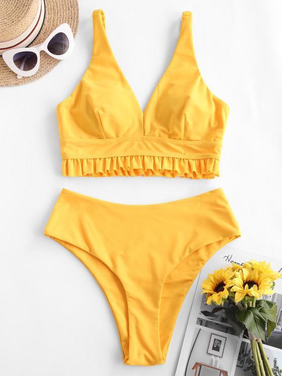 ZAFUL Elasticated Straps Ruffle Tankini Swimwear - الأصفر L