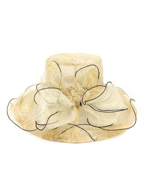 new Bowknot Sheer Organza Wide Brim Hat - BEIGE