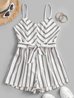 Belted Stripes Cami Romper - White S