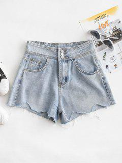 Embroidered Denim Frayed Hem Cutoff Shorts - Light Blue L