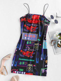 ZAFUL Graphic Mini Cami Dress - Black M