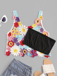 Crochet Floral Tank Top With Tube Top - Red
