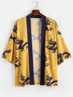 Dragon Print Short Sleeves Kimono Shirt - Yellow 2xl