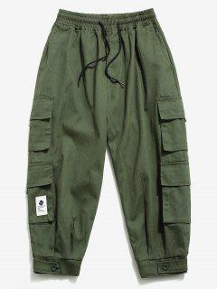 Solid Color Multi-pocket Decorated Cargo Pants - Army Green S