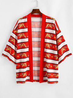 Dragon Printed Casual Kimono Shirt - Red 2xl