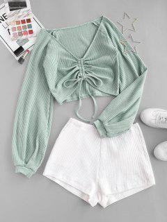 Colorblock Textured Cinched Raglan Sleeve Pocket Shorts Set - Light Green M