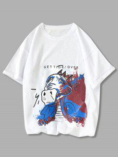 Get Over Animal Paint Graphic Tee - White Xs