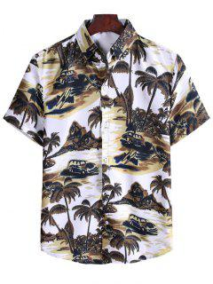 Coconut Tree Landscape Print Vacation Shirt - Brown Bear 2xl