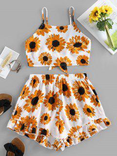 ZAFUL Verknotetes Sonnenblumen Rüsche Zweiteiler Set - Weiß L