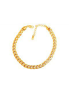 18K Gold Plated Curb Link Chain Anklet - Golden