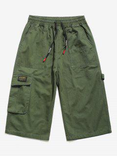 Letter Pattern Multi-pocket Pants - Army Green M