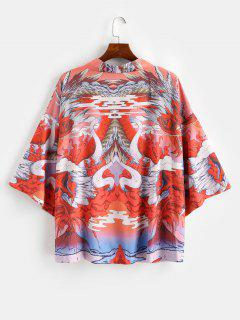Oriental Dragon Graphic Oriental Kimono Cardigan - Papaya Orange M