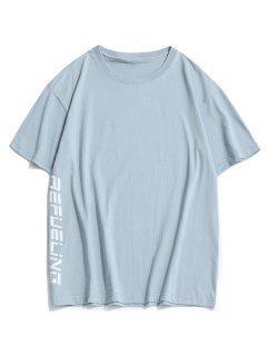 T-shirt Canard Lettre Dessin Animé Imprimé à Col Rond - Bleu Clair 2xl