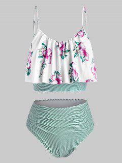 ZAFUL Plus Size Striped Floral Ruched Tankini Swimwear - Deep Green 2x