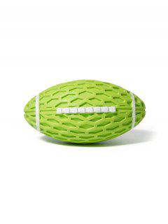 Football Shape Rubber Squeaky Dog Chew Toy - Green Apple 14.5*8.2cm