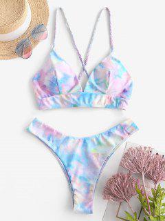 ZAFUL Tie Dye Lace Up Bikini Set - Light Blue M