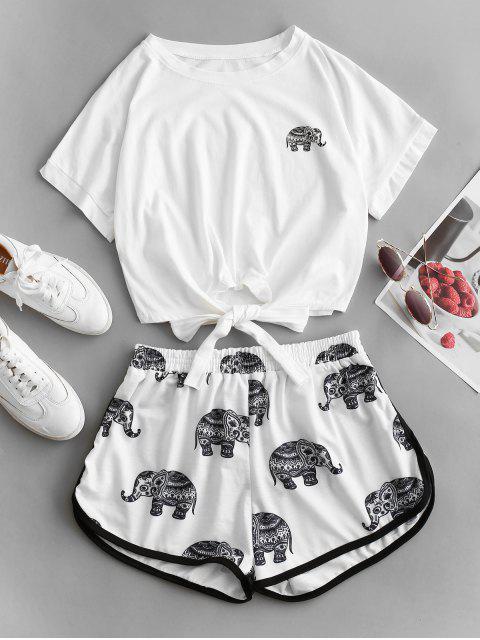 women's Tie Elephant Print Two Piece Set - WHITE M Mobile