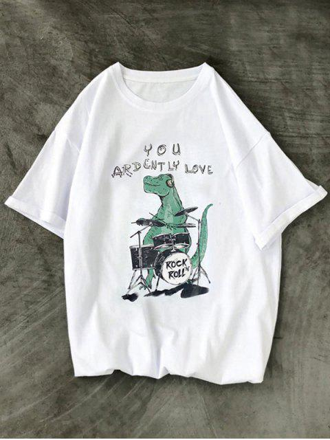 outfits Rock Roll Dinosaur Graphic T Shirt - WHITE XS Mobile