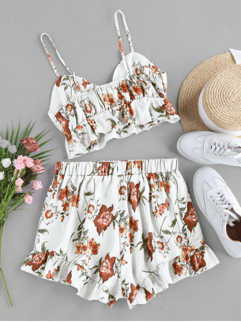 shop ZAFUL Floral Print Cinched Flounce Two Piece Set - WHITE M Mobile