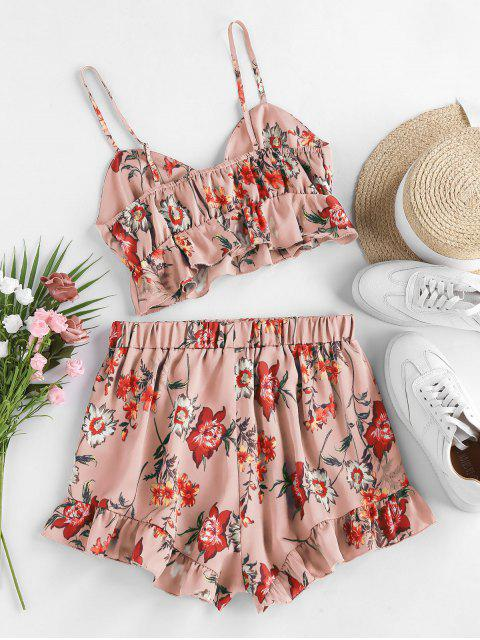 women's ZAFUL Floral Print Cinched Flounce Two Piece Set - KHAKI ROSE XL Mobile