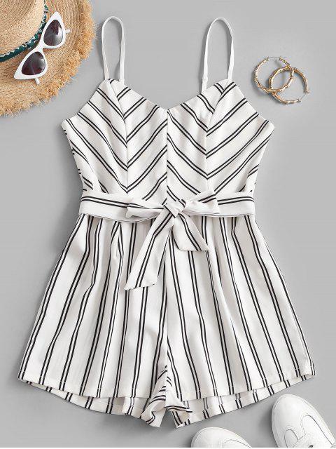 best Belted Stripes Cami Romper - WHITE M Mobile