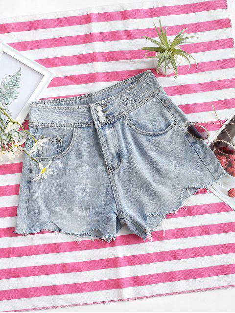 affordable Embroidered Denim Frayed Hem Cutoff Shorts - LIGHT BLUE L Mobile