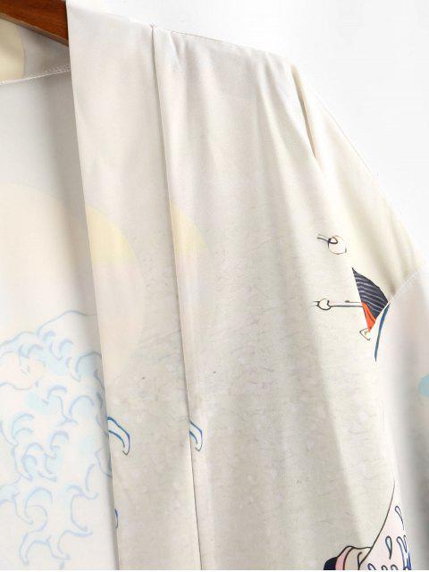 buy Asian Waves Geisha Open Front Kimono Cardigan - LIGHT KHAKI L Mobile