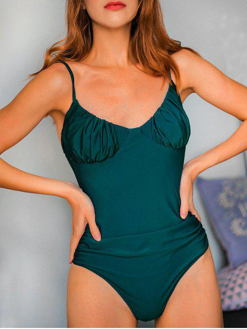 women's ZAFUL Ruched Bustier One-piece Swimsuit - PEACOCK BLUE M Mobile