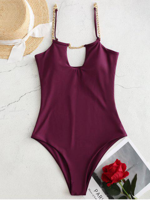 outfits ZAFUL Chain Cut Out One-piece Swimsuit - PLUM VELVET XL Mobile